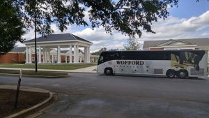 Atchison Transportation Services, Inc. in front of the  new fraternity and sorority houses at Wofford College