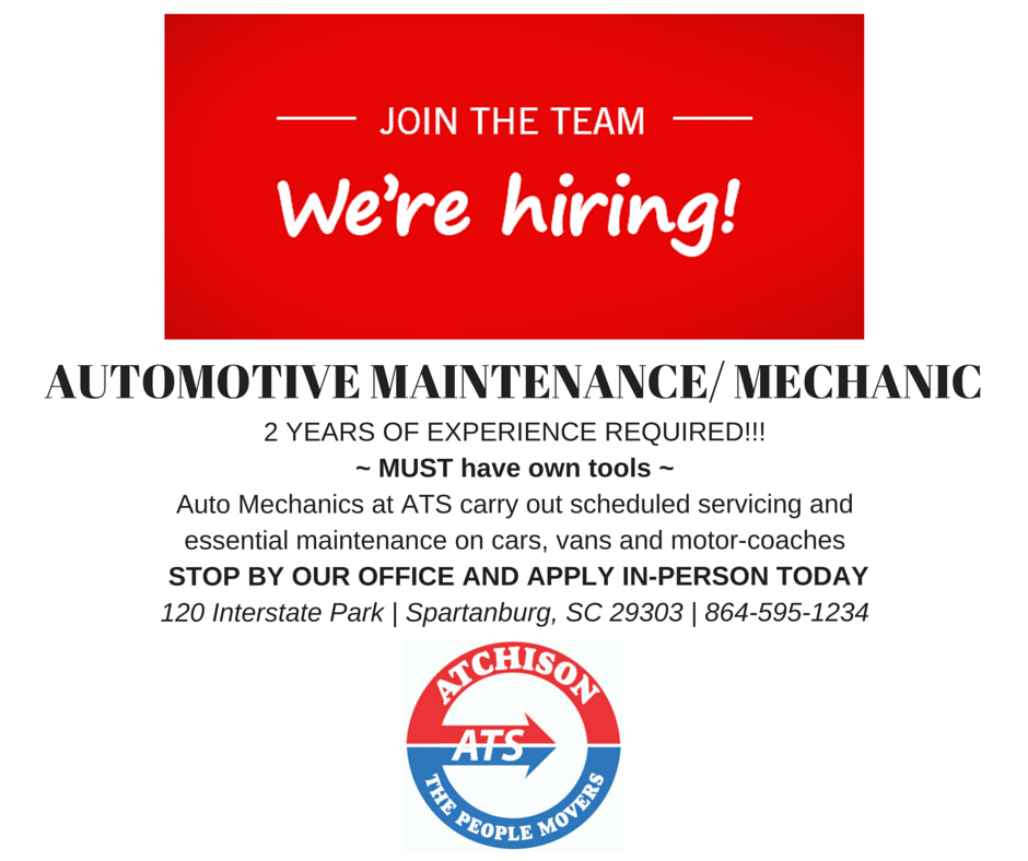 WE'RE HIRING – AUTOMOTIVE MAINTENANCE MECHANIC
