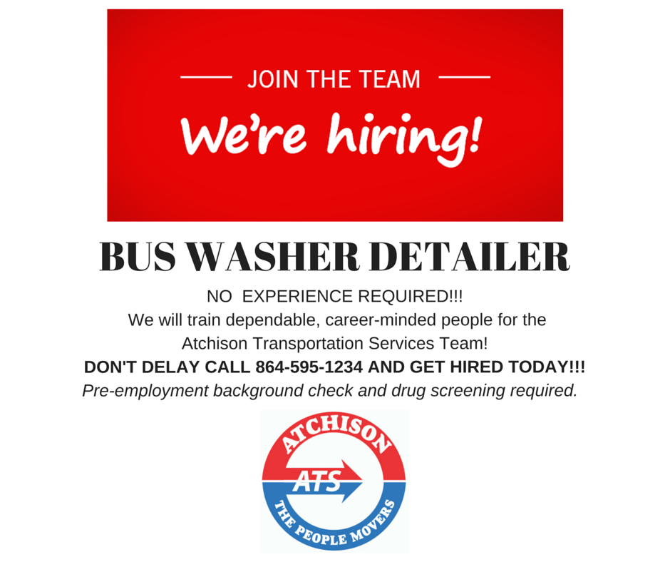 WE'RE HIRING! BUS WASHER DETAILER